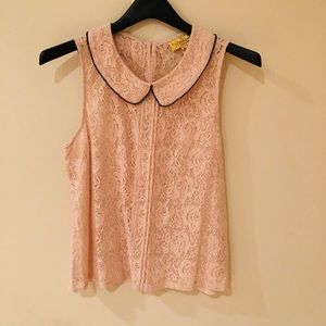 Lace pink formal tank top